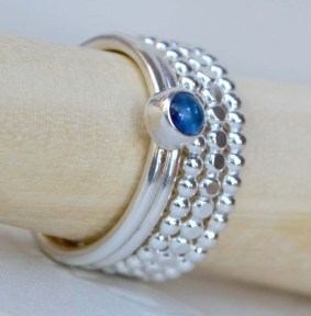 Sterling Silver and Kyanite Stacking Ring Set