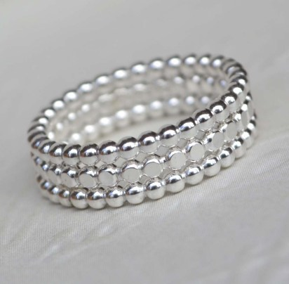 Sterling Silver Beaded Stacking Set