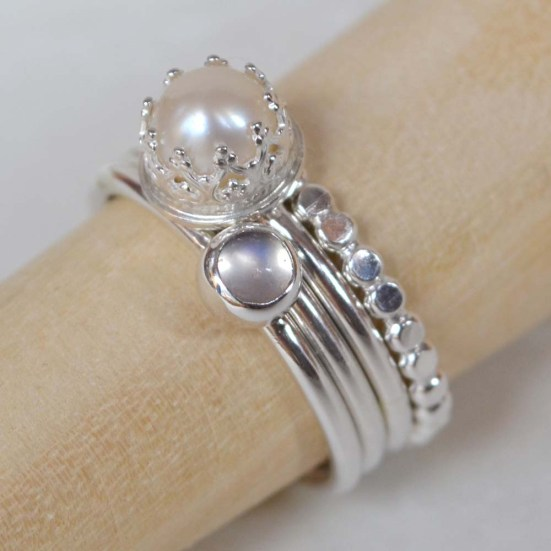 Sterling Silver and Moonstone Stacking Ring Set (4 bands)