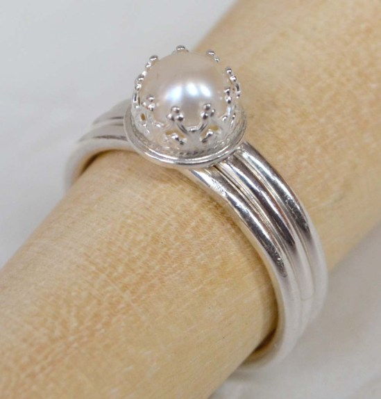 Sterling Silver & Freshwater Pearl Crown Set smooth band stacking ring set