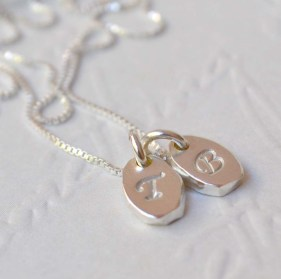 Sterling Silver Pebble Tag Initial Necklace