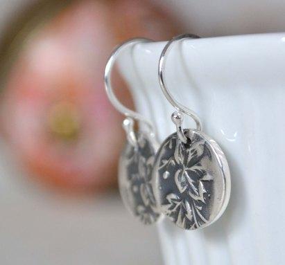 Oxidised Sterling Silver Maple Leaf Earrings