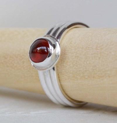 Sterling Silver & Garnet Stacking Ring Set