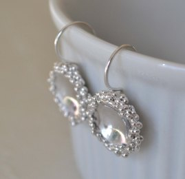 Sterling Silver Granulation Dome Earrings