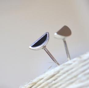 Sterling Silver Oxidised Pod Earrings