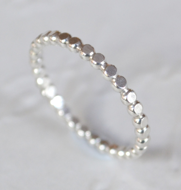 Sterling Silver Flattened Beaded Stacking Ring