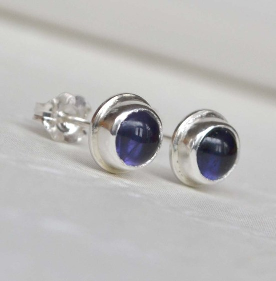 Sterling Silver and Iolite Bezel Set Studs