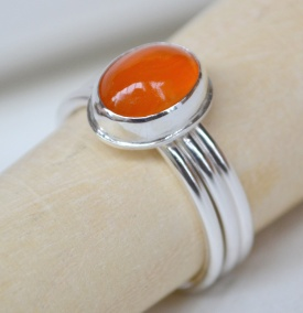 Sterling Silver and Carnelian Stacking Ring Set