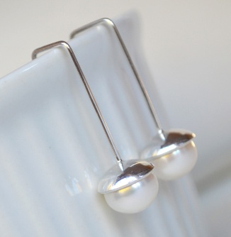 Sterling Silver and Freshwater Pearl Modern Geometric Earrings
