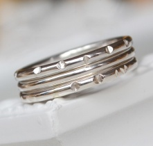 Sterling Silver Facets Stacking Ring Set