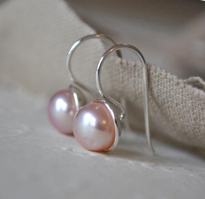 Sterling Silver & Pink Freshwater Pearl Hook Earrings