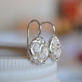 Sterling Silver Rose Relic Hook Earrings