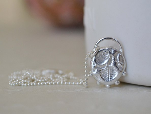 Sterling Silver Rose Relic Necklace