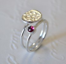 Sterling Silver Floral Relic and Garnet Stacking Set