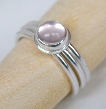 Sterling Silver & Rose Quartz Stacking Ring Set