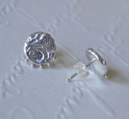 Sterling Silver Rose Relic Studs