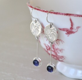 Sterling Silver & Iolite Rose Relic Earrings