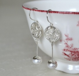 Sterling Silver and Freshwater Pearl Rose Relic Earrings