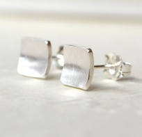 Sterling Silver Square Matte Studs