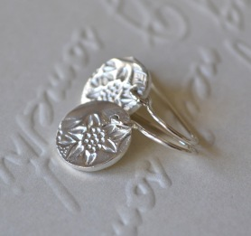 Sterling Silver Floral Star Tiny Token Earrings