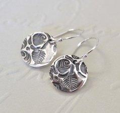 Oxidised Sterling Silver Rose Token Earrings