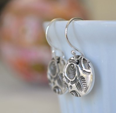 Oxidised Sterling Silver Rose Relic Earrings