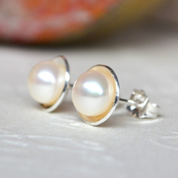 Sterling Silver & Freshwater Pearl cupped studs