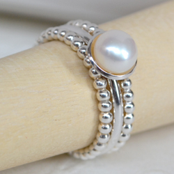 Sterling Silver and Freshwater Pearl Cupped Stacking Ring Set