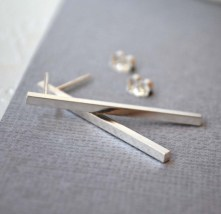 Sterling Silver Long Bar Studs