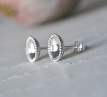 Sterling Silver Beaded Edge Studs