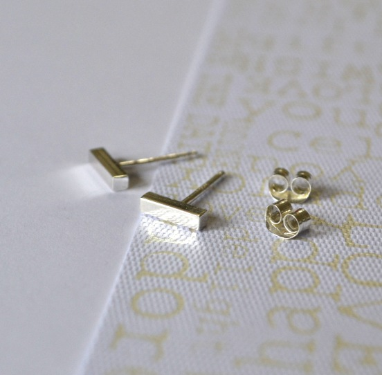 Sterling Silver Tiny Bar Studs