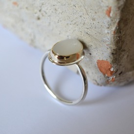 Moonstone and Mixed Metal Ring. 9ct Gold and Sterling Silver